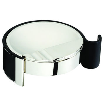 Cape Town Metal & Black Leather Cigarette Ashtray