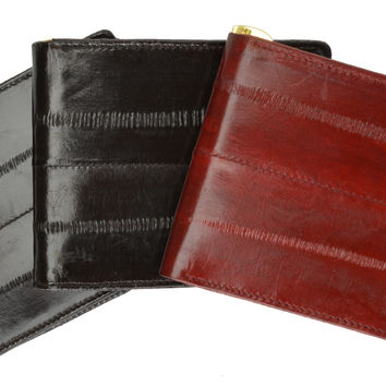 Eel Skin Soft Leather Bifold Wallet with Center Money Clip E 717