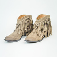 All About Fringe Bootie in Taupe