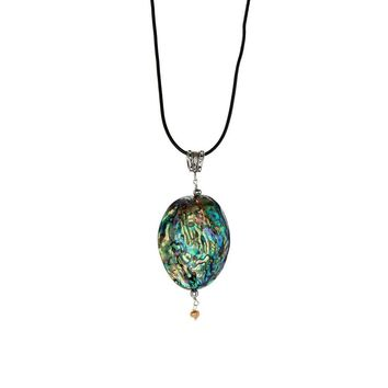 Abalone Shell Pendant on Leather Necklace