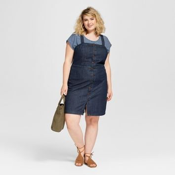 Women's Plus Size Button Front Apron Denim Dress - Universal Thread™