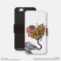 Sketch Elephant Flower iPhone Samsung Galaxy leather wallet case cover 087