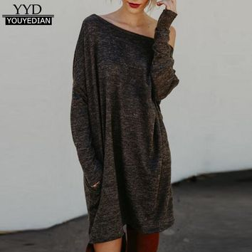 2017 Ladies Womens Fashion Long Sleeve Dresses Autumn Winter Loose Casual Tunic Tshirt Dress For Women Vestidos Mujer *1205