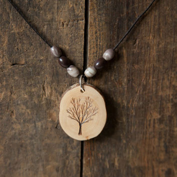 Wood Burned Tree Pendant with jasper semiprecious stones on natural hemp cord necklace