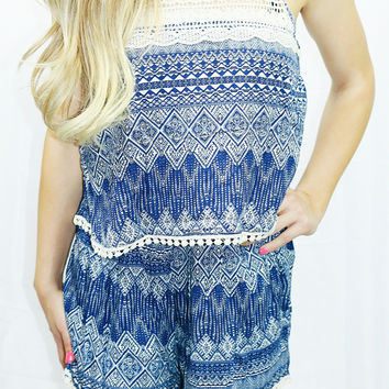 PICKED FOR YOU ROMPER IN NAVY
