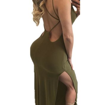 Army Green Double Slits String Open Back Maxi Dress
