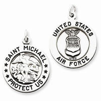 Sterling Silver Antiqued Saint Michael Air Force M