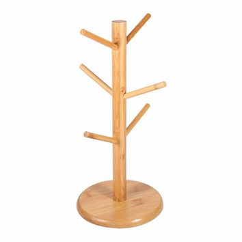 Rack Holder 6 hook peg wooden Hanging Tea Cup Coffee Mug Tree Rack Holder Kitchen Storage 18x35cm