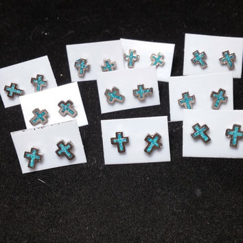 Lot of 10 Silver Tone and Turquoise Cross Post Earrings