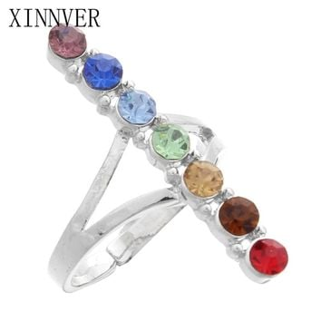 7 Chakra Point Stone Bead Energy Finger Rings Reiki Balance Meditation Healing Charm Adjustable Yoga Hollow Flower Women Ring