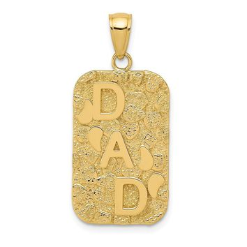 14k Yellow Gold Small Nugget Dad Dog Tag Pendant, 15 x 30mm