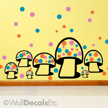 Toadstools with 99 Polka Dots Childrens Vinyl Wall Decals for Kids Room, DIY Home Bedroom Decor