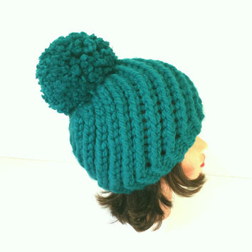 Beautiful Swirl hat decorated with pompom, warm and soft beanie, winter accessory for women or girl.