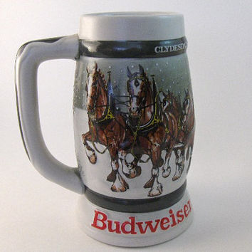 Vintage Stein Mug Holiday Budweiser Beer Stein: 1933-1983 Clydesdales 50th Anniversary Collectible Mug.