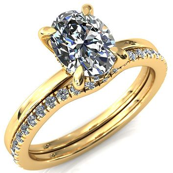 Carmeli Oval Moissanite 4 Claw Prong Micro Pave Diamond Rail Engagement Ring