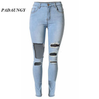 PADAUNGY High Waist Torn Women Jeans Denim Pencil Pants Vaqueros Mujer Ripped Trousers Skinny Slim Jeggings Pantalon Jean Femme