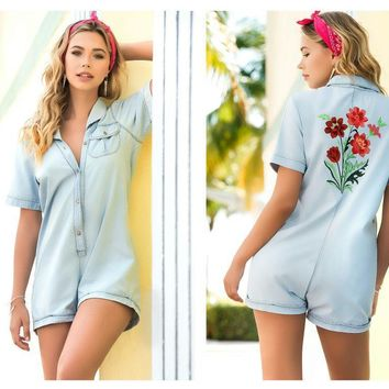 5743 Chambray Romper with Flowers Appliqué