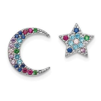Sterling Silver Moon And Star Colorful CZ Post Earrings