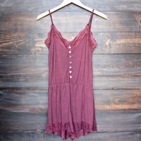not so basic vintage acid wash romper in burgundy