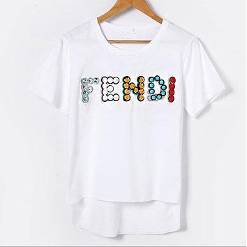 FENDI Popular Casual Embroidery Rivet Short Sleeve Round Collar T-Shirt Top White