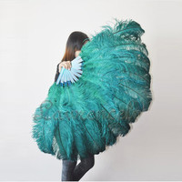 Burlesque costume Dance Forest Green 2layer Ostrich by lawrencelv