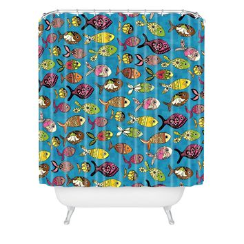 Sharon Turner Doodle Fish Shower Curtain