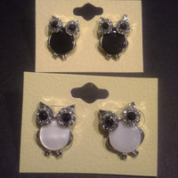 Very Cute Rhinestone OWL Earrings Available in 7 different colors