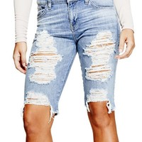 Solange Distressed Bermuda Shorts at Guess