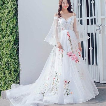 Spaghetti Strap Colorful Embroidery Lace Boho Wedding Dress