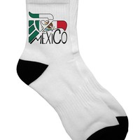 Mexico Eagle Symbol - Mexican Flag - Mexico Adult Short Socks  by TooLoud