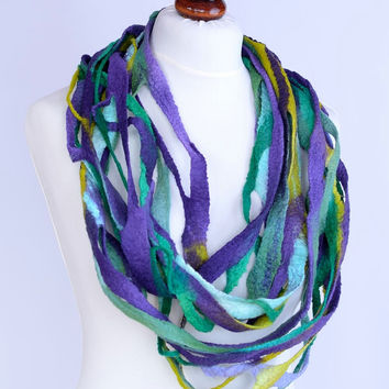 Long, light & airy trellis infinity scarf - hand dyed felt merino wool circle scarf in violet and green, grid or lattice triple loop [IS30]