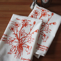 Botanical Flower Cloth Napkin Pair - limited edition