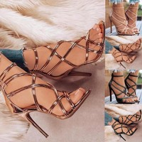 High Heel Shoes Sandals Women's Ankle Strap Pump Party Dress Open Toe