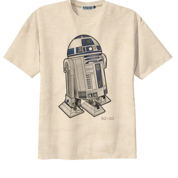 Classic Film Star Wars R2-D2 Robot T-Shirt Tee Organic Cotton Vintage Look Size S M L