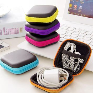 Portable candy colors anti-pressure headphone mini square storage box cell phone charger data cable zipper travel organizer bag