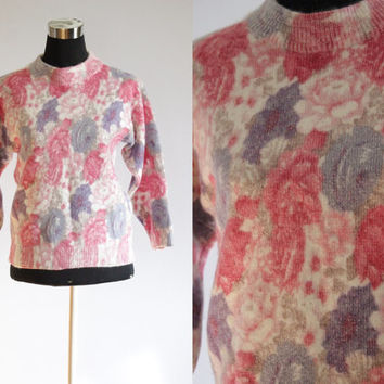 Vintage Sweater 80's Angora Lamb Flower Spring Wearable Art Pink Jumper/Sweater Knit Garden Sweater