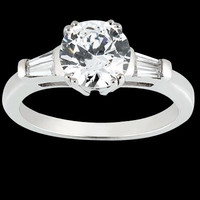 Round & baguette diamond 1.91 carat three stone style engagement ring