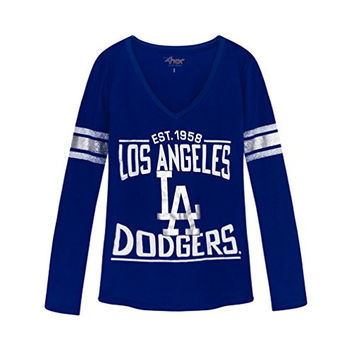 Womens MLB LOS ANGELES DODGERS Long Sleeve V-neck Tee T-shirt S
