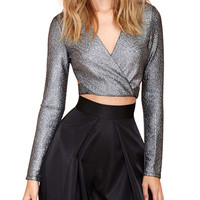 V-neck Long Sleeve Wrap Bodycon Cropped Top