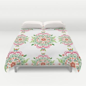 Folk Art Medallions on white Duvet Cover by Heaven7 | Society6