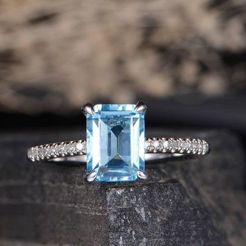 Swiss Blue Topaz Engagement Ring Solitaire Emerald Cut Diamond