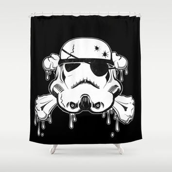 Pirate Trooper - Black Shower Curtain by Nicklas Gustafsson