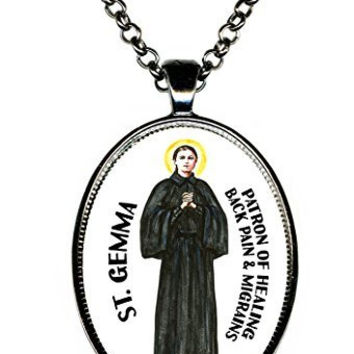 St Gemma Patron of Healing Back Pain & Headaches Huge Gunmetal Pendant