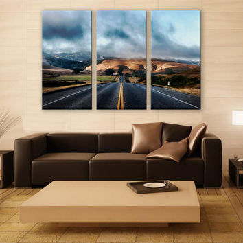 California Highway Road Canvas Photo 3 Panels Print Wall Decor Fine ArtLandscape Photography Repro Print for Home and Office Wall Decoration