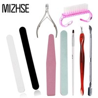 MIZHSE Gel Varnish Nail Manicure Set Stainless Steel Cuticle Pusher Dead Skin Pedicure Manicure Nail Sanding File Cleaning Brush
