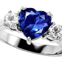Star K 8mm Heart Shape Created Sapphire Ring Sterling Silver