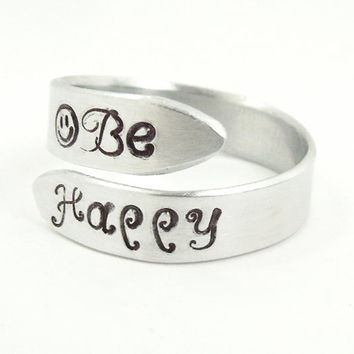 Be Happy ring hand-stamped aluminum ring smiley face ring - Men's ring women's ring - Handmade adjustable silver-tone ring