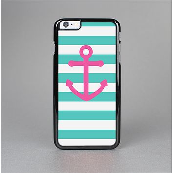 The Teal Striped Pink Anchor Skin-Sert Case for the Apple iPhone 6