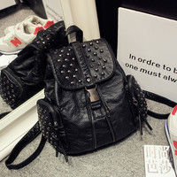 Casual On Sale College Hot Deal Comfort Back To School Korean Fashion Stylish Leather Backpack [6582924551]