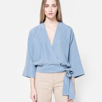 NEED / Tie Top in Dusty Blue